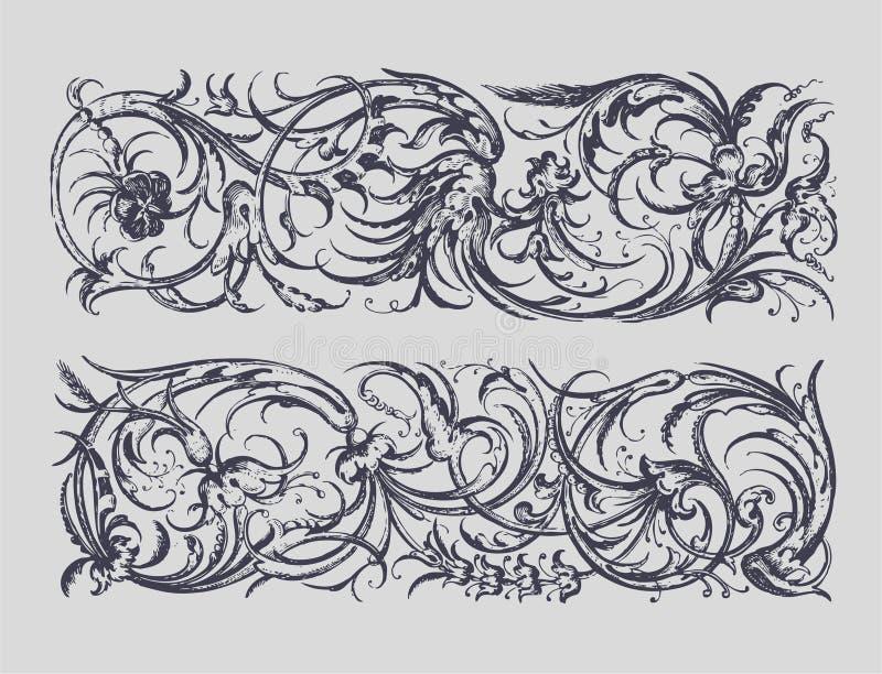 Cadres baroques illustration stock