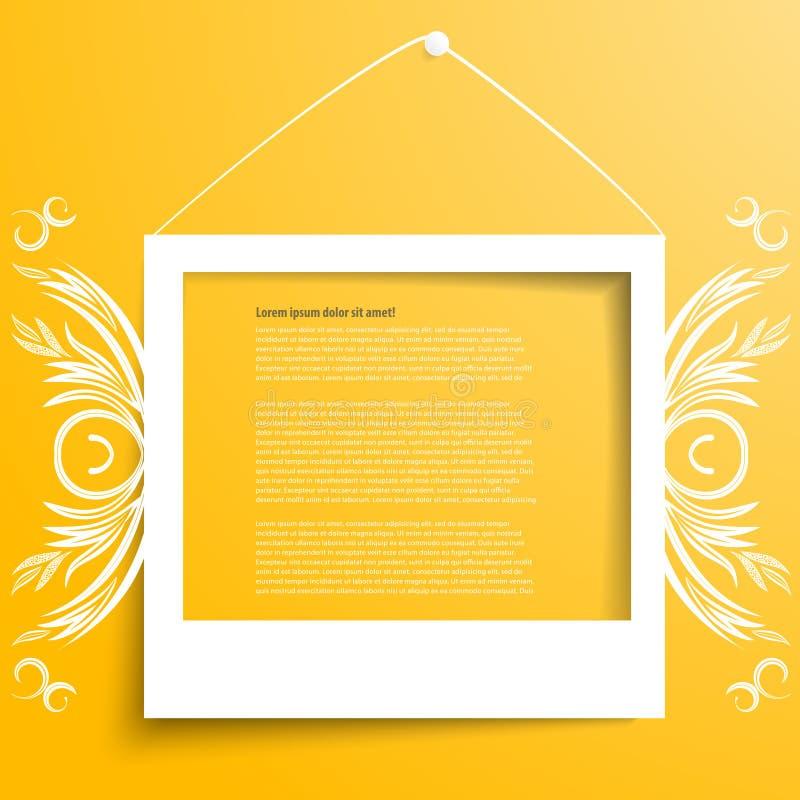 Cadres blancs de vecteur sur le mur jaune illustration libre de droits