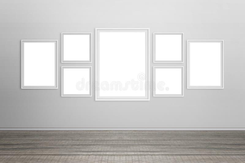 Cadres blancs vides sur le mur images libres de droits