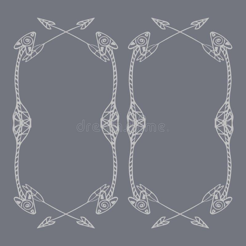 Cadres carrés des flèches ethniques Flèches blanches tirées par la main illustration libre de droits
