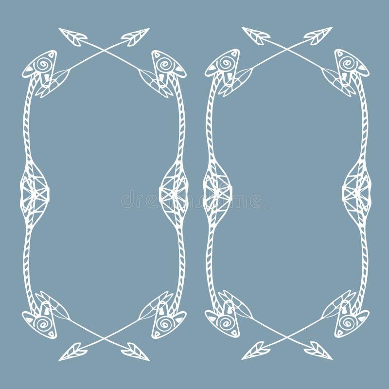 Cadres carrés des flèches ethniques Flèches blanches tirées par la main illustration stock