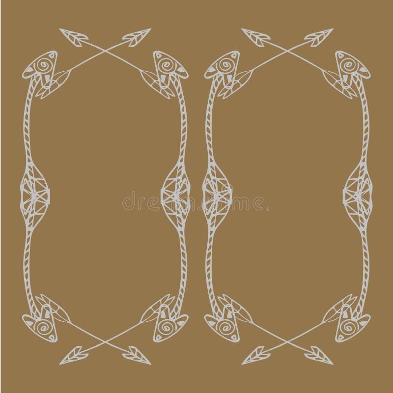 Cadres carrés des flèches ethniques Flèches blanches tirées par la main sur le fond beige clair illustration stock