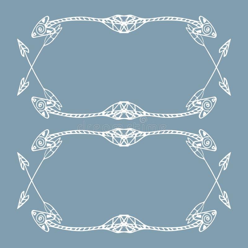 Cadres carrés des flèches ethniques Flèches blanches tirées par la main sur le fond gris-clair illustration stock