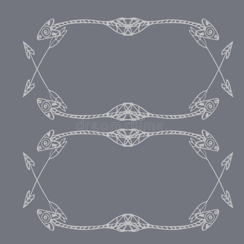 Cadres carrés des flèches ethniques Flèches blanches tirées par la main sur le fond gris-clair illustration libre de droits