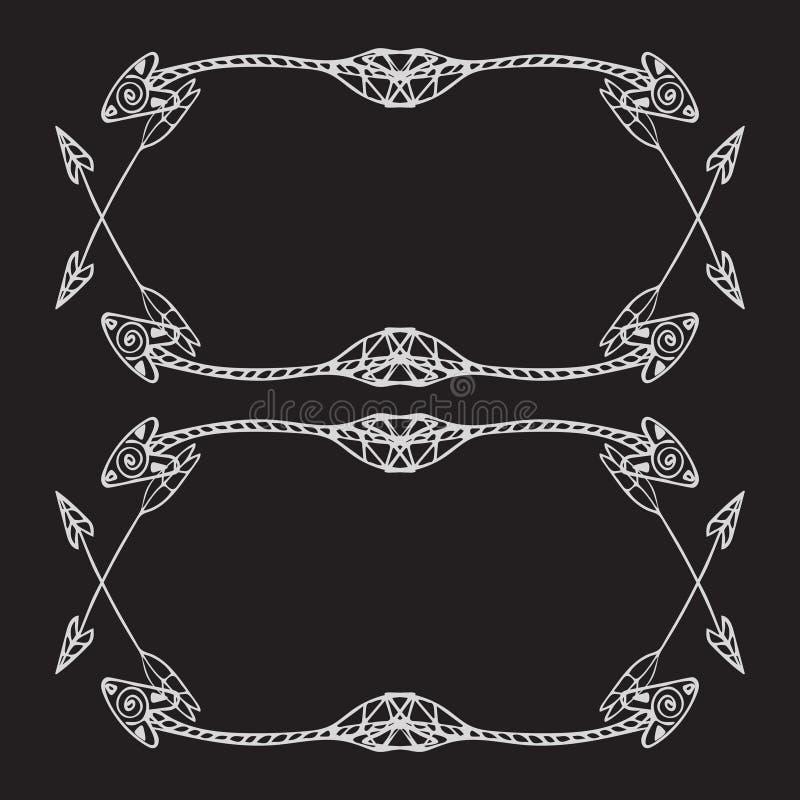 Cadres carrés des flèches ethniques Flèches blanches tirées par la main sur le fond noir illustration de vecteur