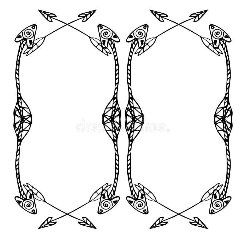 Cadres carrés des flèches ethniques Flèches noires tirées par la main illustration de vecteur