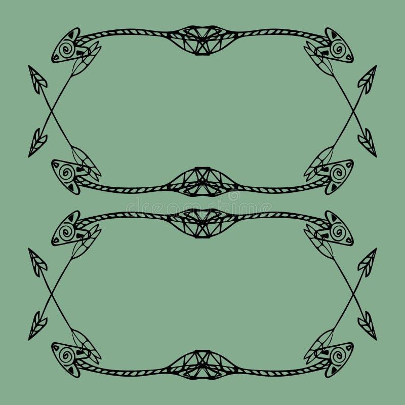 Cadres carrés des flèches ethniques Flèches noires tirées par la main illustration libre de droits