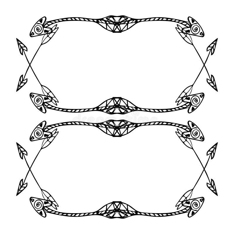 Cadres carrés des flèches ethniques Flèches noires tirées par la main sur le fond blanc illustration stock