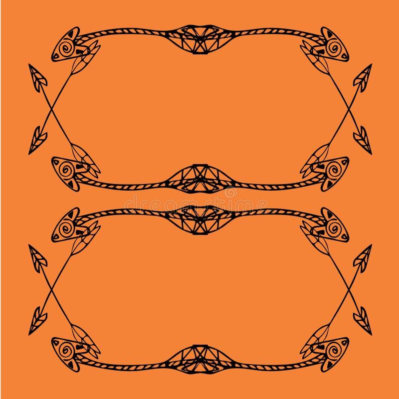 Cadres carrés des flèches ethniques Flèches noires tirées par la main sur le fond orange lumineux illustration libre de droits