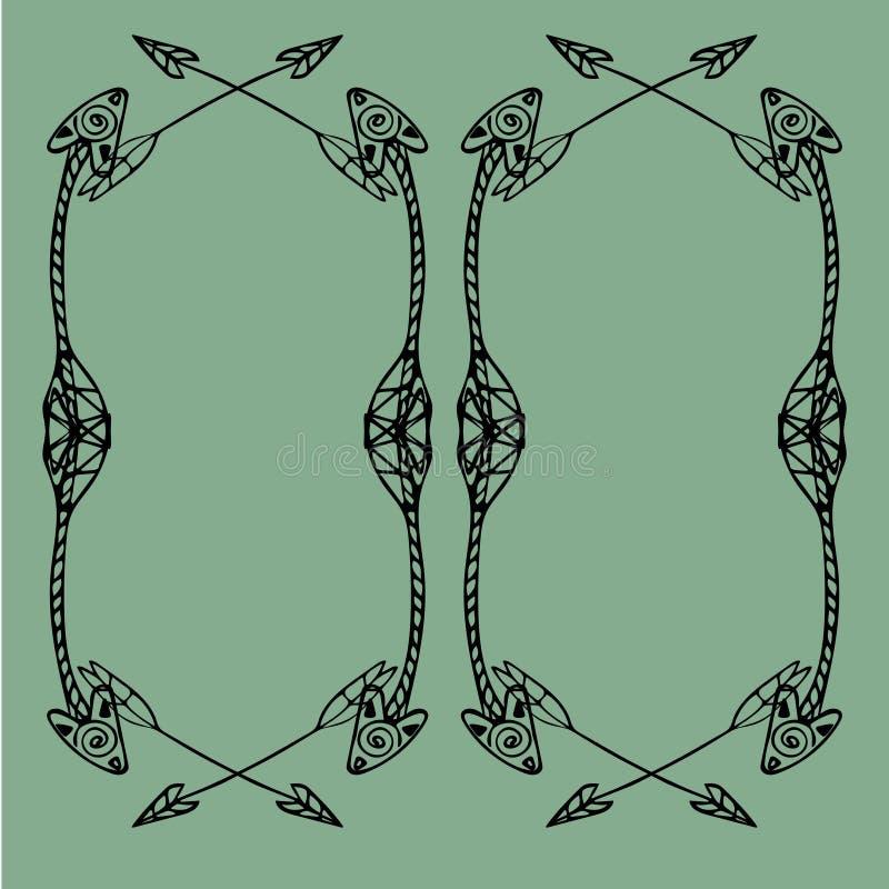 Cadres carrés des flèches ethniques Flèches noires tirées par la main sur le fond vert clair illustration stock