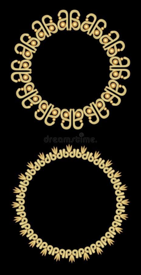 Cadres décoratifs d'or en filigrane, cadres de cercle sur le fond noir Éléments de conception pour le label, menu illustration stock