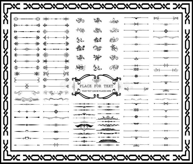 Cadres décoratifs et embellissement d'ornements de rétro objet vos illustration de vecteur