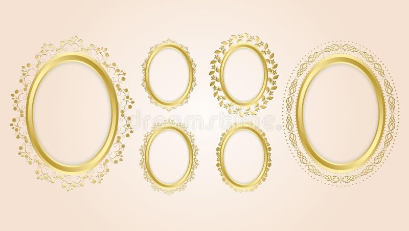 Cadres décoratifs ovales d'or - ensemble illustration de vecteur
