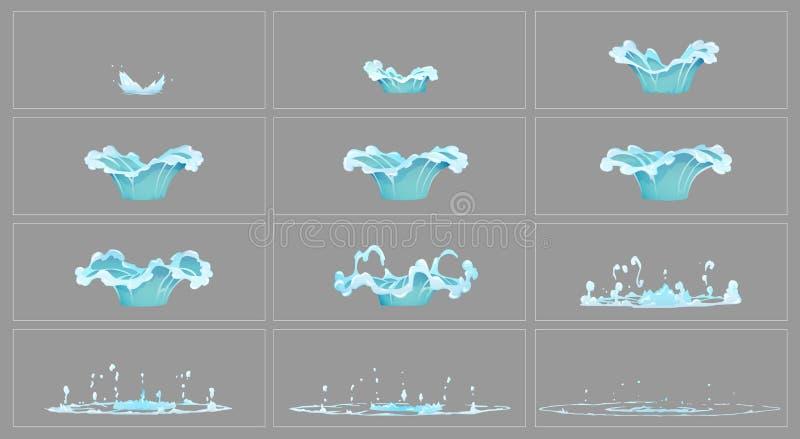 Cadres d'animation d'effet spécial de l'eau d'égoutture illustration stock