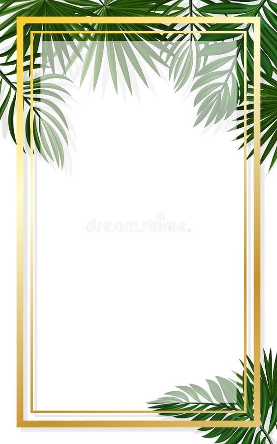 Cadres d'or verticaux sur le fond de la verdure tropicale Cadre exotique de feuille d'?t? pour des cartes de voeux d'anniversaire illustration libre de droits