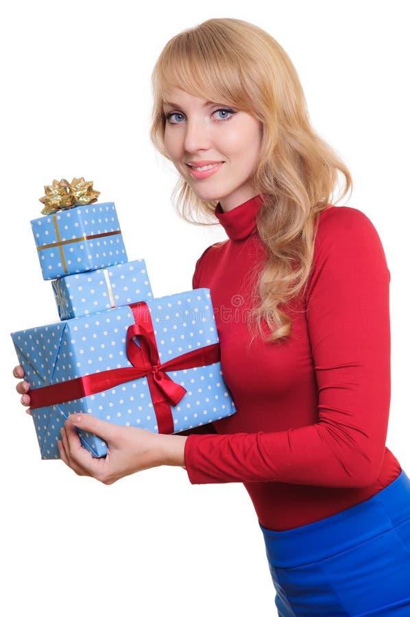 Cadres de blonde et de cadeau photos stock