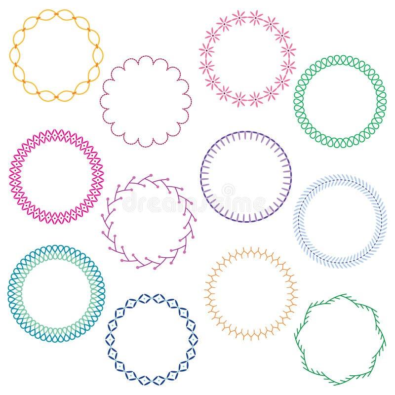 Cadres de cercle piqués par broderie illustration de vecteur