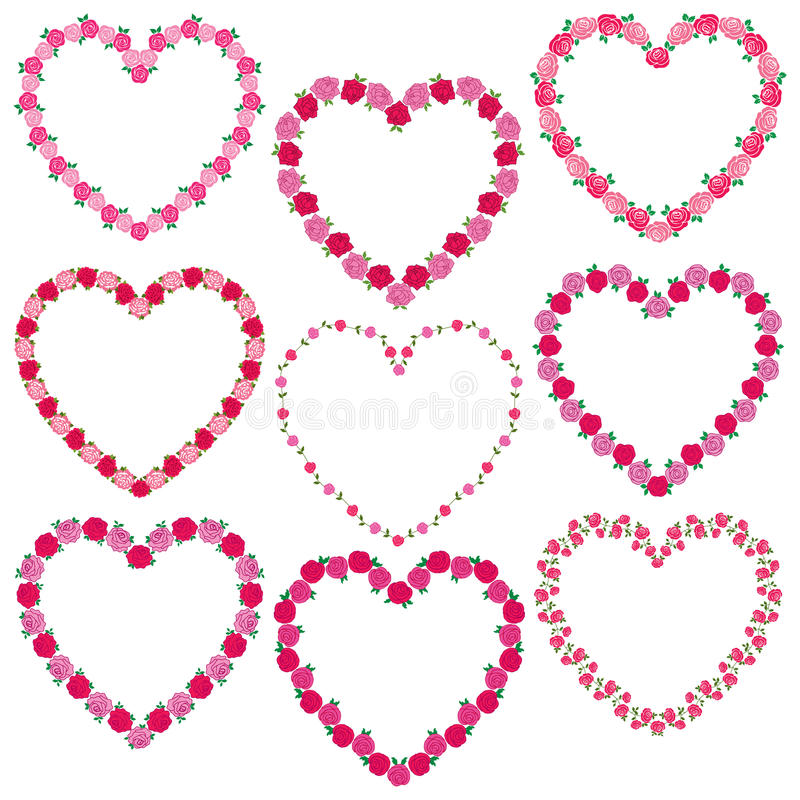 Cadres de coeur de Rose illustration stock