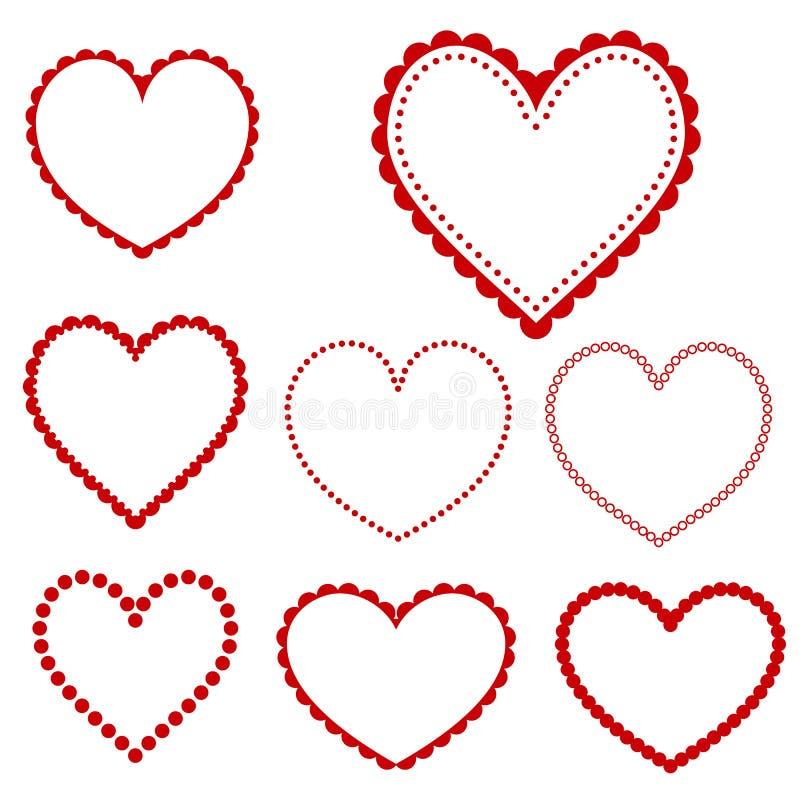 Cadres de coeur de vecteur illustration stock