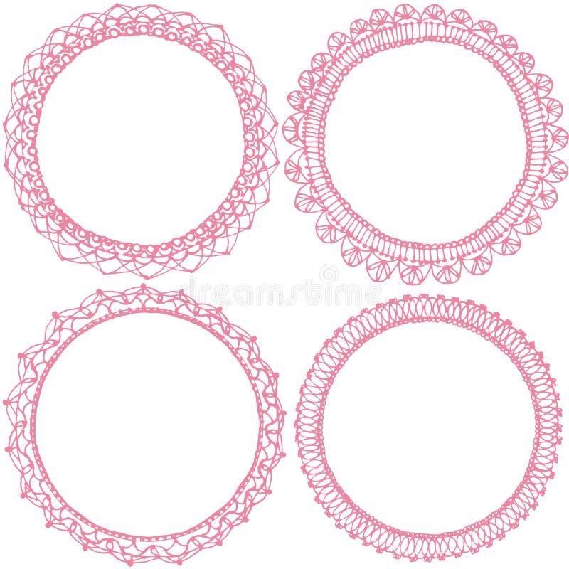 Cadres de dentelle de cercle illustration de vecteur