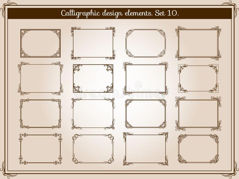 Cadres de flourish de vintage de décoration de vecteur avec le remous élégant et les éléments faisants le coin de rouleau illustration stock