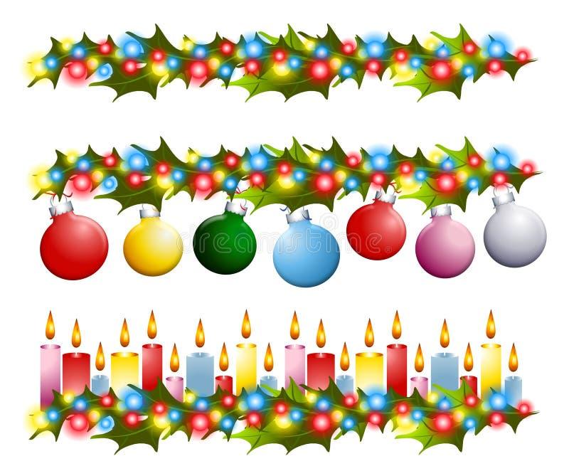 Cadres de houx de Noël illustration stock