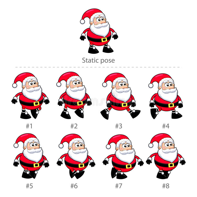 Cadres de marche de Santa Claus. illustration stock