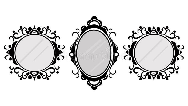Cadres de miroir de vintage réglés Dirigez la collection d'en rond et ajustez les cadres de vintage, élément de conception illustration libre de droits