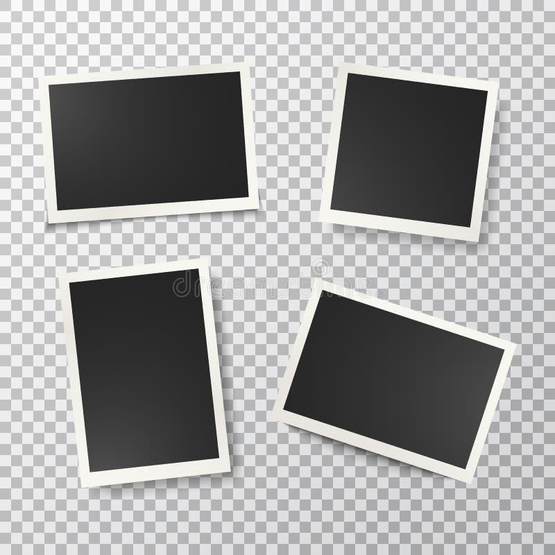 Cadres de photo r?gl?s sur le fond transparent R?tros cadres vides r?alistes de photo Type de cru Calibres de conception de maque illustration de vecteur