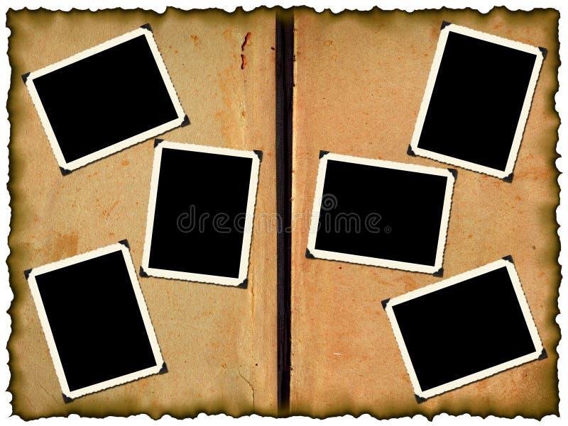 Cadres de photo sur le vieil album illustration libre de droits