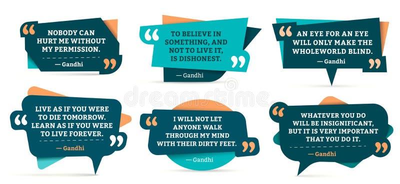 Cadres de remarque de citation La citation de Gandhi, cite le cadre et l'ensemble de vecteur de calibres de remarques de citation illustration de vecteur