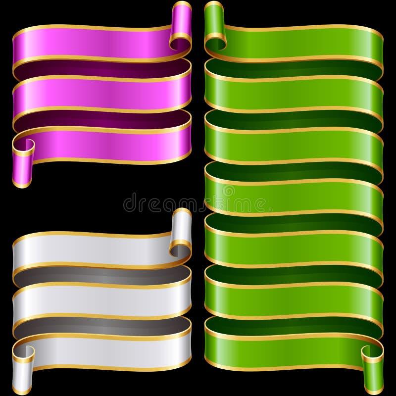 Cadres de ruban de vecteur réglés Vert, pourpre et blanc illustration stock