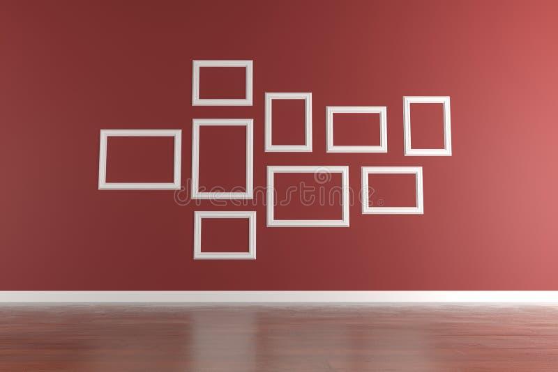 Cadres de tableau blancs sur le mur rouge illustration stock