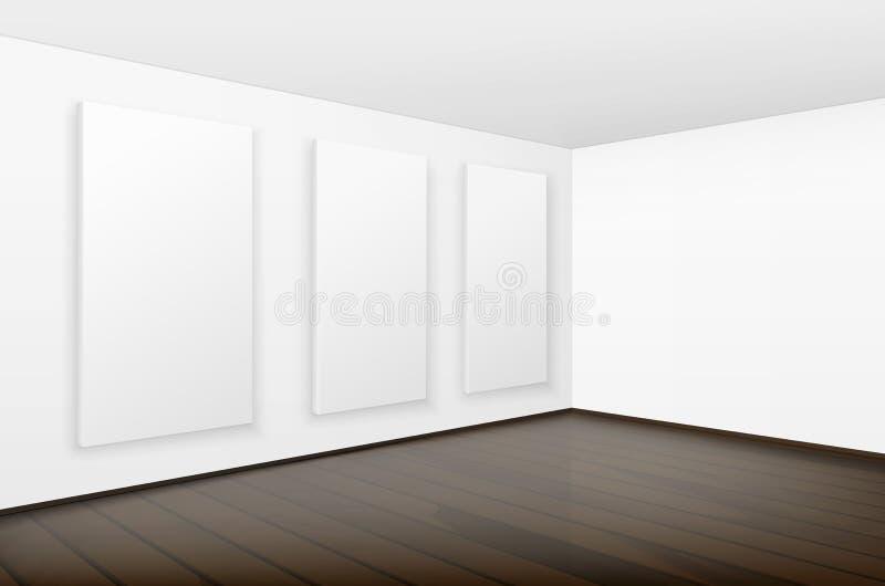 Cadres de tableau blancs vides d'affiches dans la galerie illustration libre de droits