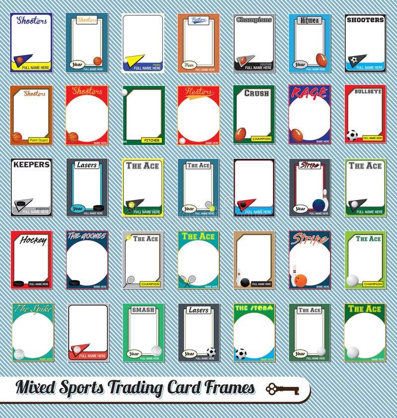 Cadres de tableau mélangés de carte de commerce de sports illustration de vecteur