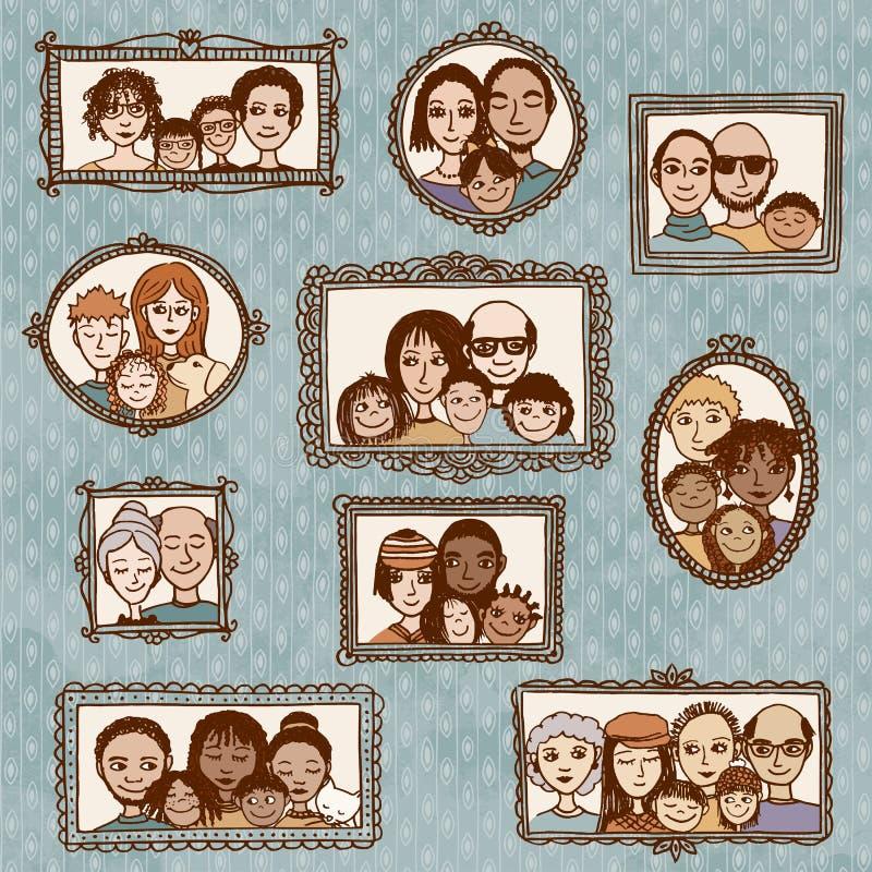 Cadres de tableau mignons avec des portraits de famille illustration de vecteur