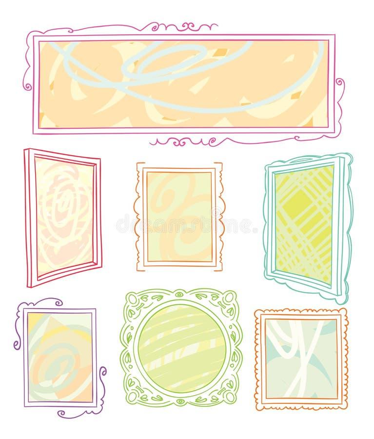 Cadres de tableau réglés, illustration tirée par la main de vecteur illustration de vecteur