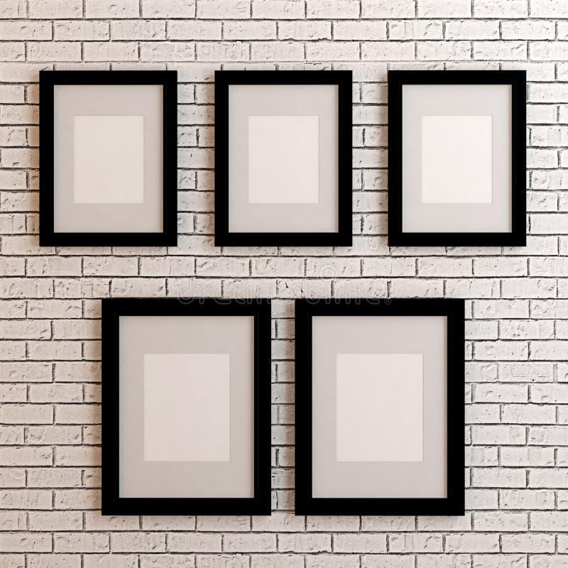 cadres de tableau sur le mur blanc image stock image du exposition arr ter 53674783. Black Bedroom Furniture Sets. Home Design Ideas