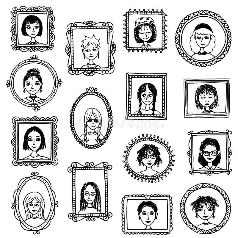 Cadres de tableau tirés par la main mignons avec des femmes illustration libre de droits