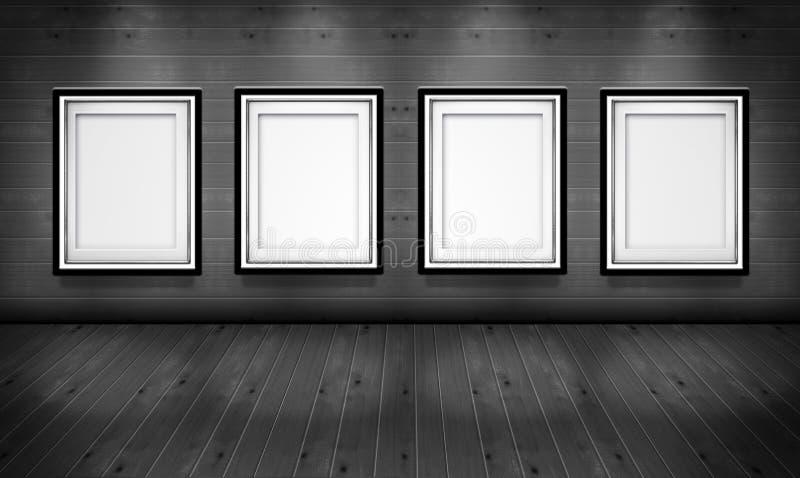 Cadres de tableau vides dans la salle de galerie d'art illustration stock