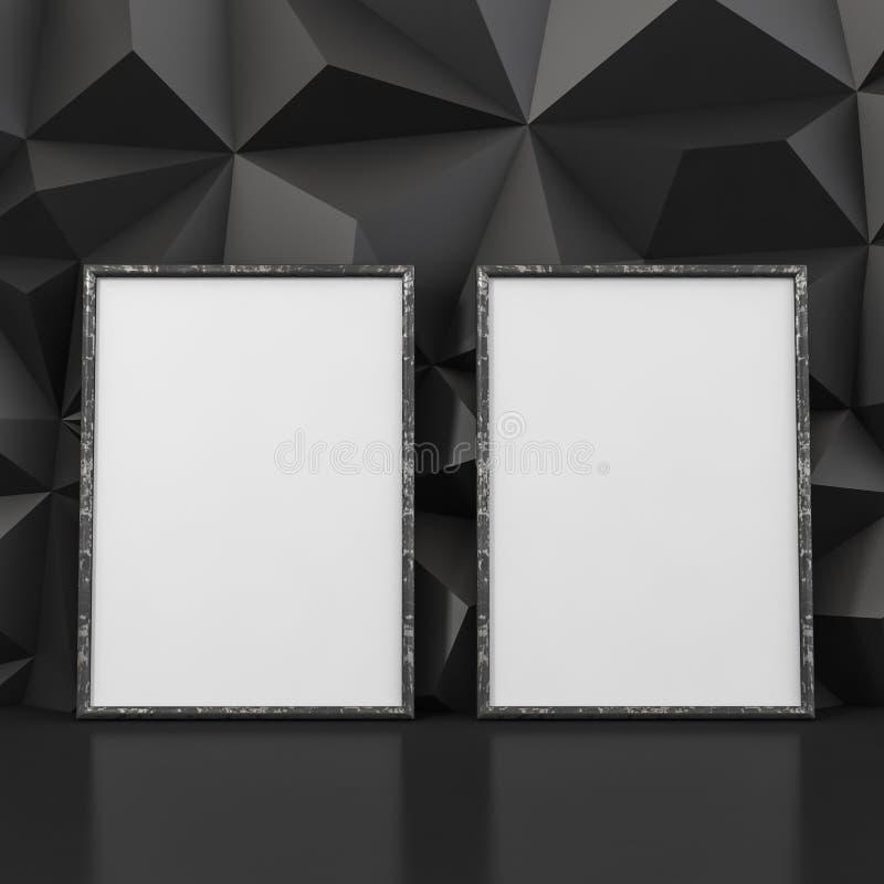 Cadres de tableau vides sur un fond de relief noir - illustration 3D illustration de vecteur