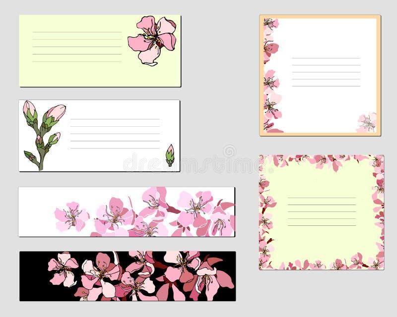 Cadres de vecteur avec les fleurs roses collection de divers labels de papier floraux pour des annonces illustration libre de droits