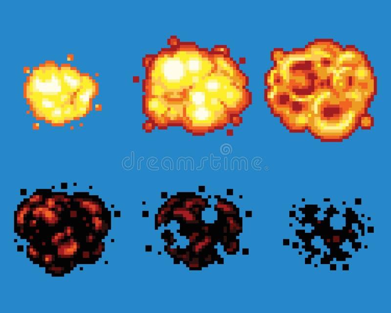 Cadres de vecteur d'Art Video Game Explosion Animation de pixel illustration de vecteur