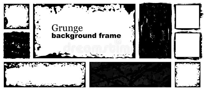 Cadres de vecteur Places et rectangle pour l'image de suffisance Texture de détresse avec l'effet de saleté Frontières noires gru illustration de vecteur