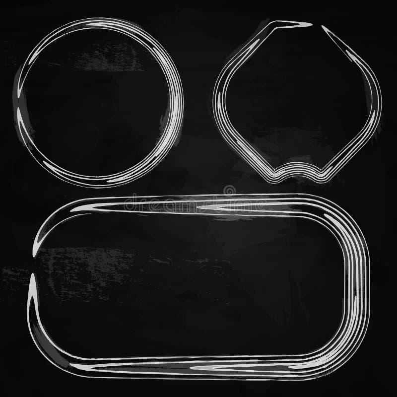 Cadres dessinés par craie sur un tableau noir illustration libre de droits