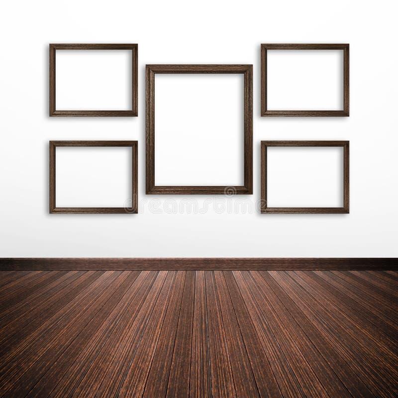 Cadres en bois de photo sur le mur blanc à l'intérieur de la salle illustration de vecteur