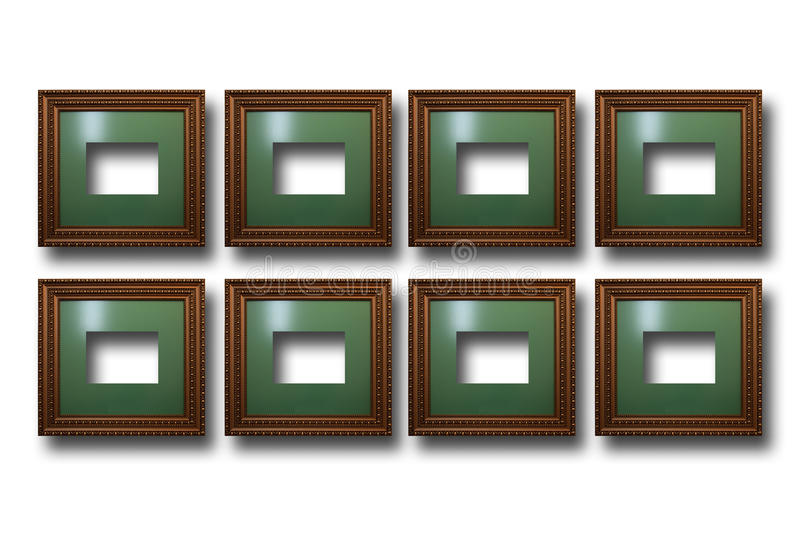 Cadres en bois dorés pour des photos sur le fond d'isolement illustration stock