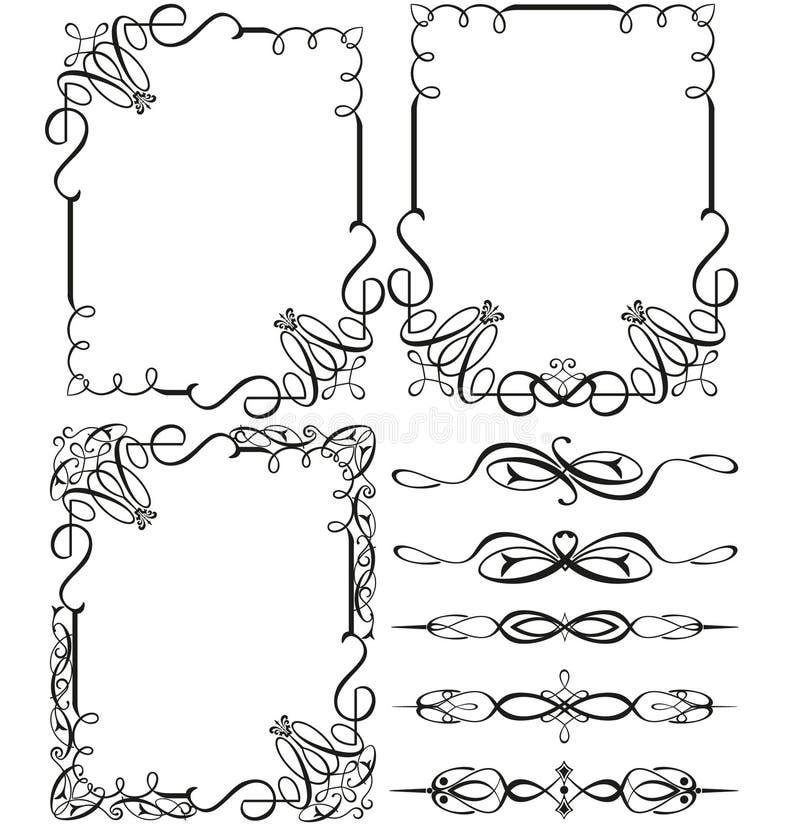 Cadres et éléments calligraphiques de vintage illustration stock
