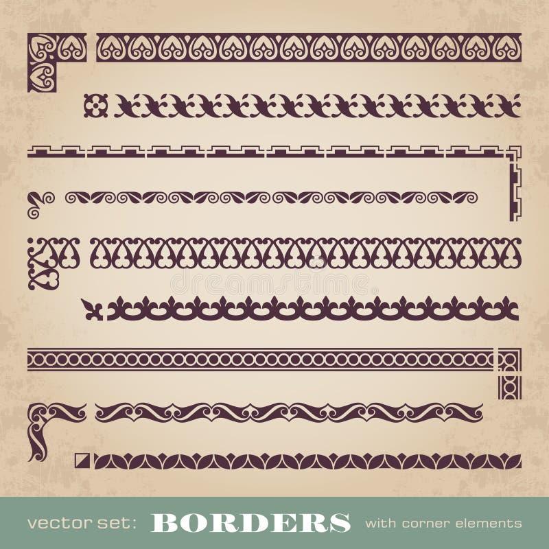 Cadres et frontières calligraphiques avec les éléments faisants le coin - ensemble de vecteur illustration stock