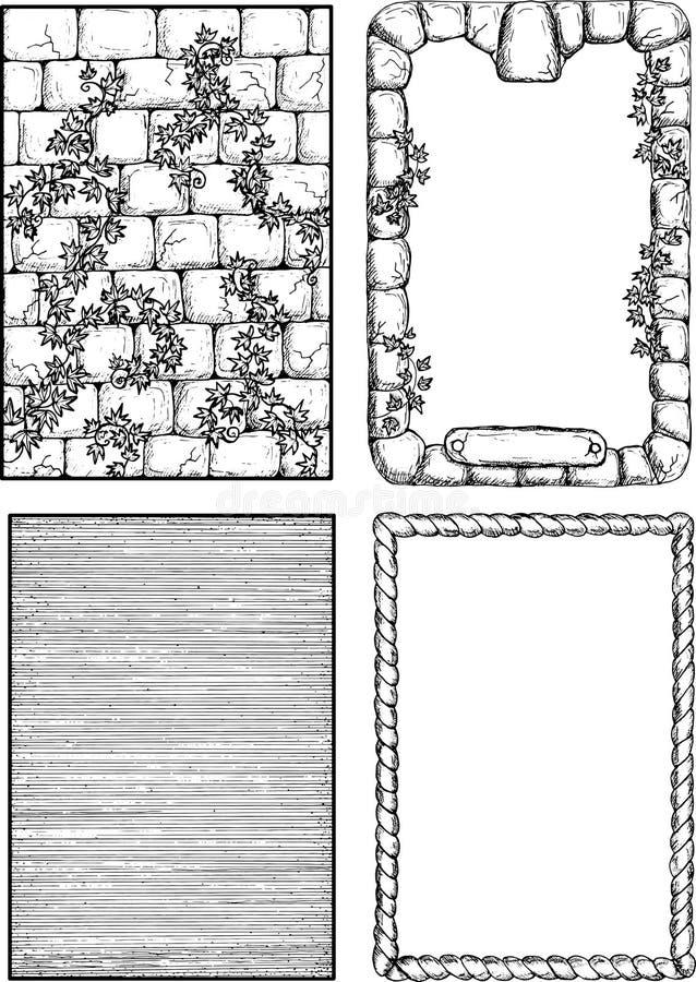 Cadres et frontières médiévaux illustration de vecteur